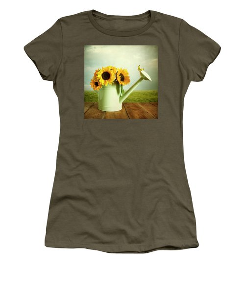 Sunflowers In A Watering Can Women's T-Shirt