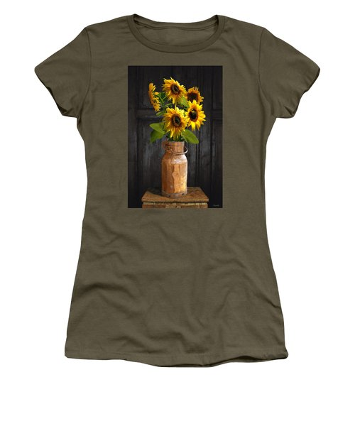 Sunflowers In Copper Milk Can Women's T-Shirt (Athletic Fit)