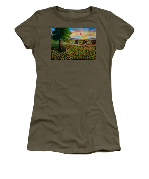 Sunflowers In Sunset Women's T-Shirt (Athletic Fit)