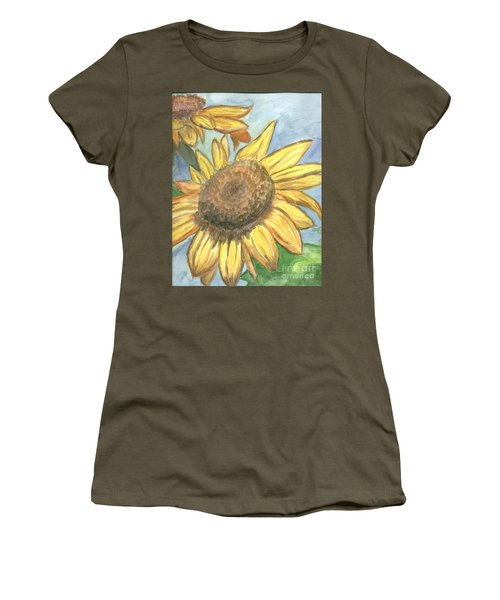 Women's T-Shirt (Junior Cut) featuring the painting Sunflowers by Jacqueline Athmann