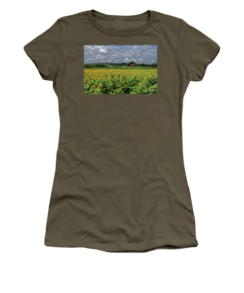 Sunflowers With Barn Women's T-Shirt (Athletic Fit)