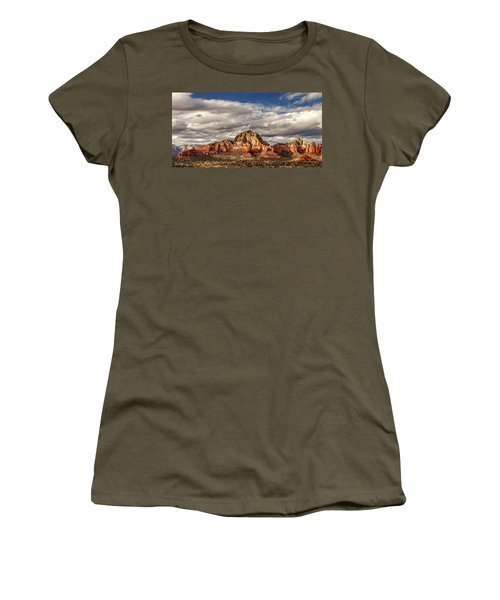 Women's T-Shirt (Athletic Fit) featuring the photograph Sunlight On Sedona by James Eddy