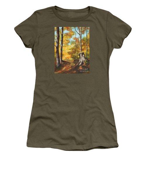 Sunlit Tree Trunk Women's T-Shirt (Athletic Fit)