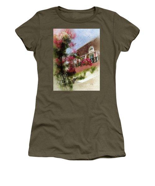 Women's T-Shirt (Junior Cut) featuring the photograph Sunny Santorini by Lois Bryan