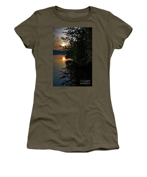 Women's T-Shirt (Junior Cut) featuring the photograph Sunrise At The Lake by Henry Kowalski