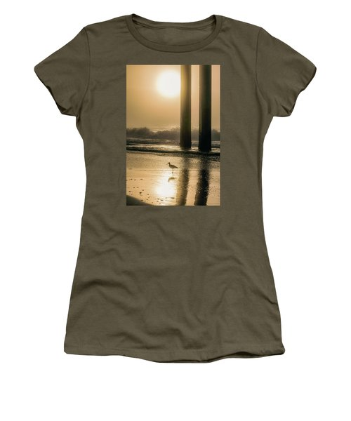 Women's T-Shirt (Junior Cut) featuring the photograph Sunrise Bird At Beach  by John McGraw