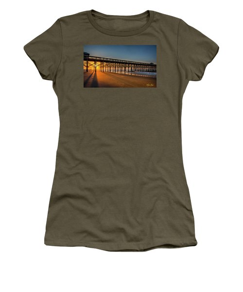Women's T-Shirt (Athletic Fit) featuring the photograph Sunrise On Folly Island by Rikk Flohr