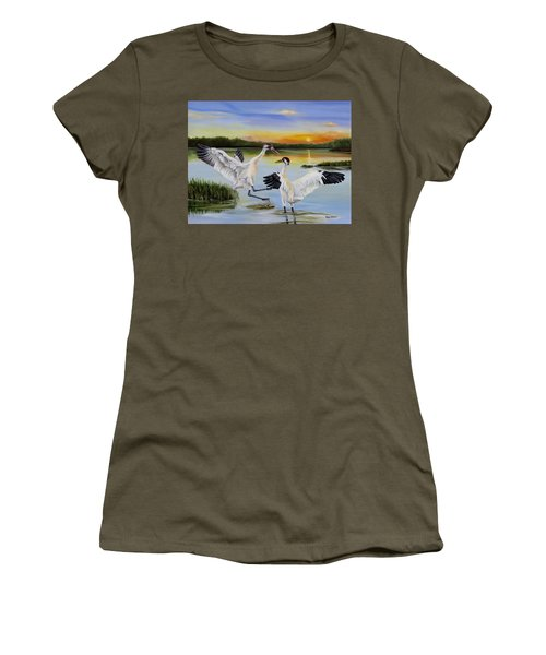 Sunrise Whooping Cranes Women's T-Shirt (Junior Cut) by Phyllis Beiser