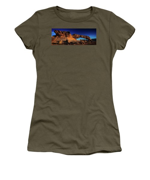 Women's T-Shirt featuring the photograph Sunset Arch Pano by Edgars Erglis