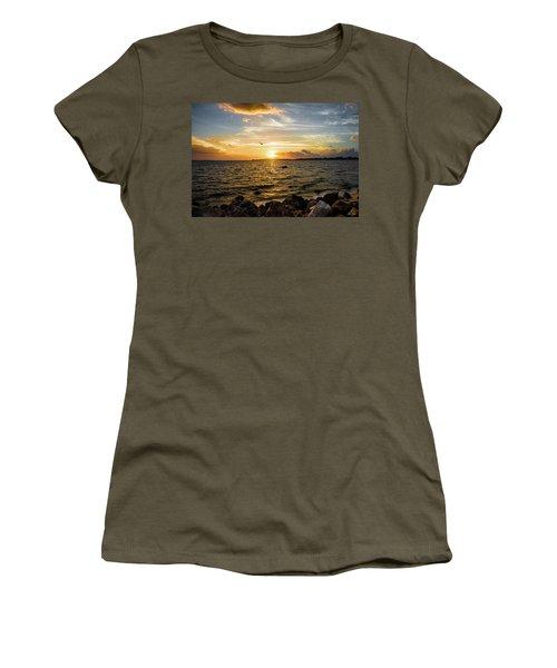 Sunset At Cedar Key Women's T-Shirt (Junior Cut) by Rebecca Hiatt