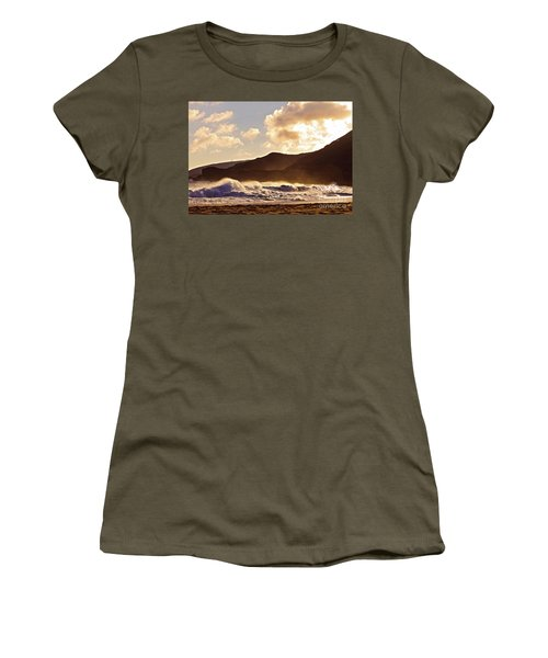 Women's T-Shirt (Junior Cut) featuring the photograph Sunset At Sandy Beach by Kristine Merc