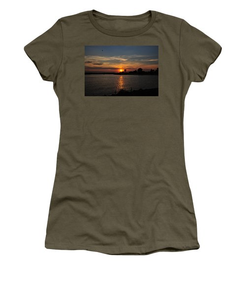 Women's T-Shirt featuring the photograph Sunset By The Inlet by Angel Cher