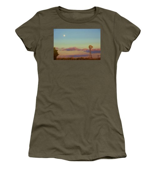 Sunset Moonrise With Windmill  Women's T-Shirt (Athletic Fit)