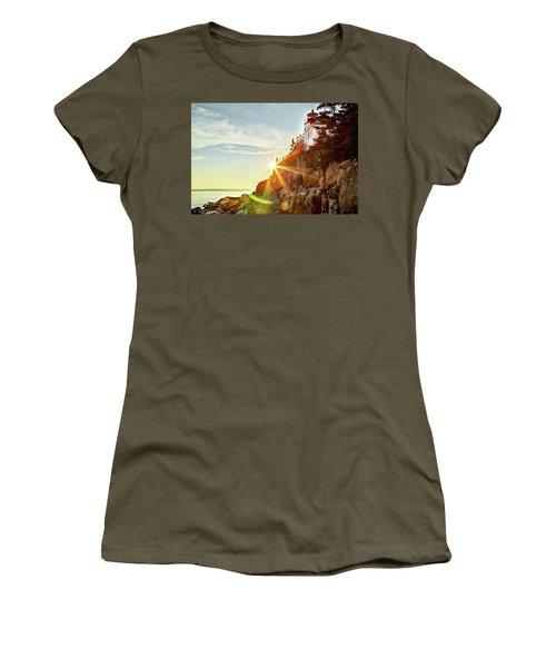 Ocean Sunset On Maine's Bass Harbor Lighthouse Women's T-Shirt