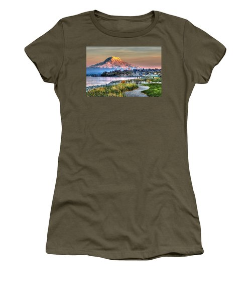 Sunset On Mt Rainier And Point Ruston Women's T-Shirt (Junior Cut) by Rob Green