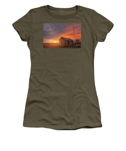 Women's T-Shirt (Athletic Fit) featuring the photograph Sunset On The Prairie  by Darren White