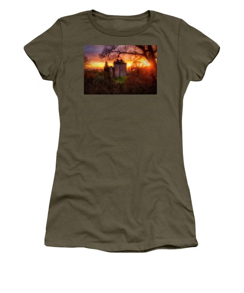 Women's T-Shirt (Athletic Fit) featuring the photograph Sunset Over Castle Campbell In Scotland by Jeremy Lavender Photography