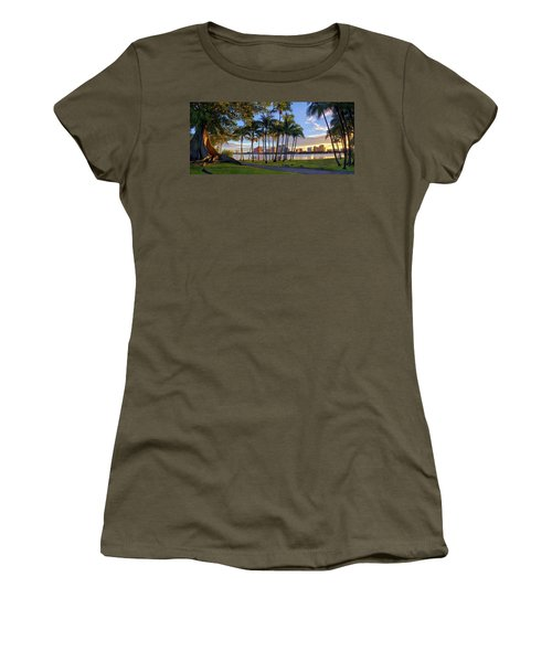 Sunset Over Downtown West Palm Beach From Palm Beach Island Women's T-Shirt (Junior Cut) by Justin Kelefas