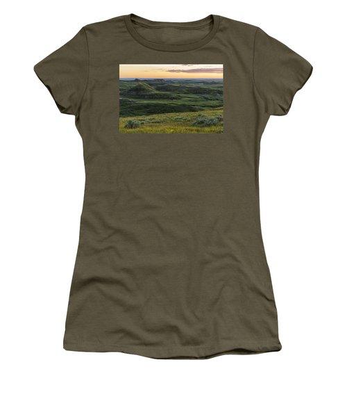 Sunset Over Killdeer Badlands Women's T-Shirt (Junior Cut) by Robert Postma