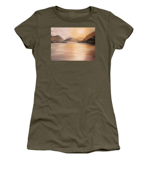 Women's T-Shirt (Athletic Fit) featuring the painting Sunset Over Scottish Loch by Elizabeth Lock
