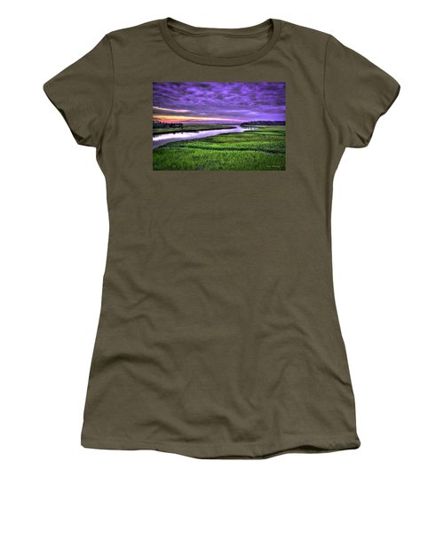Sunset Over Turners Creek Savannah Tybee Island Ga Women's T-Shirt (Athletic Fit)
