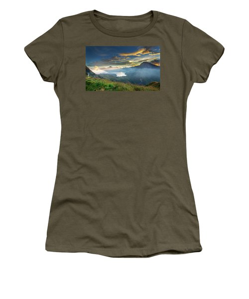 Women's T-Shirt featuring the photograph Sunset View From Mt Rinjani Crater by Pradeep Raja Prints