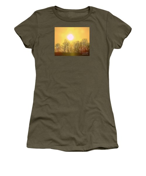 Women's T-Shirt (Junior Cut) featuring the photograph Sunset Yellow Orange by Shirley Moravec