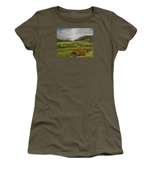 Women's T-Shirt (Athletic Fit) featuring the painting Sunshine Bridge At The Cartecay Vineyard - Ellijay Ga - Vintner's Choice by Jan Dappen