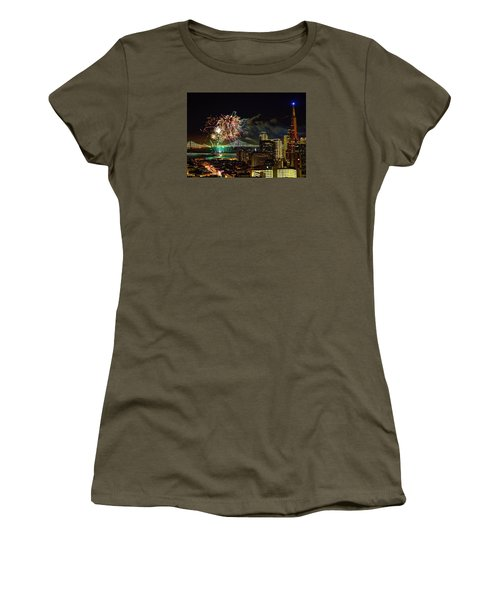 Women's T-Shirt featuring the photograph Superbowl 50 Fireworks From Atop Russian Hill by John King