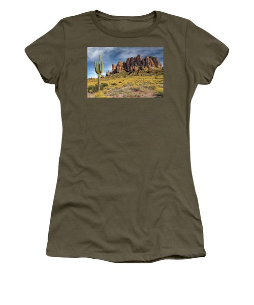 Women's T-Shirt (Junior Cut) featuring the photograph Superstition Mountains Saguaro by James Eddy
