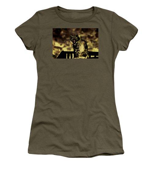 Surreal Cat Yawn Women's T-Shirt (Junior Cut) by Gina O'Brien
