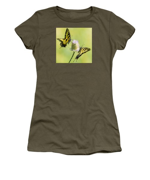 Swallowtails On Thistle  Women's T-Shirt (Athletic Fit)