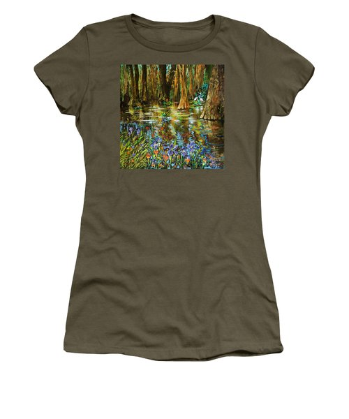 Women's T-Shirt (Junior Cut) featuring the painting Swamp Iris by Dianne Parks