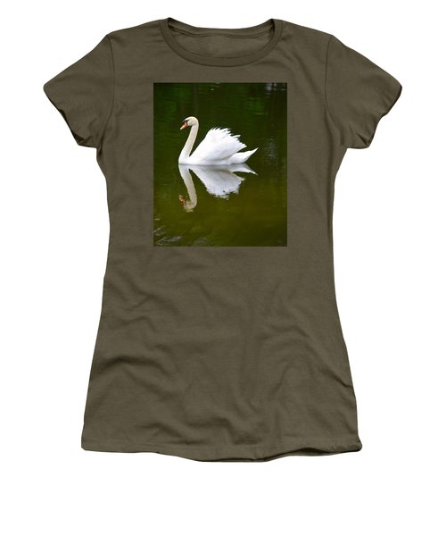 Swan Reflecting Women's T-Shirt (Junior Cut) by Richard Bryce and Family