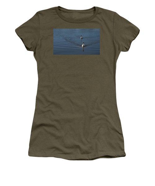Swans On Deep Blue Women's T-Shirt