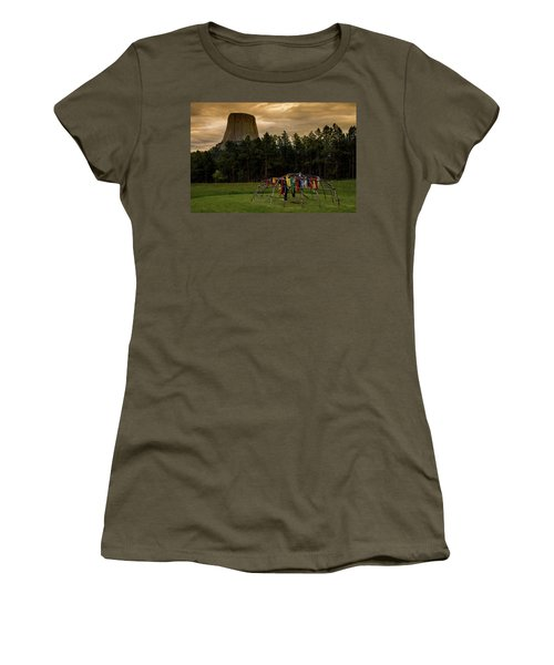 Women's T-Shirt (Athletic Fit) featuring the photograph Sweat Lodge At Devil's Tower by Gary Lengyel