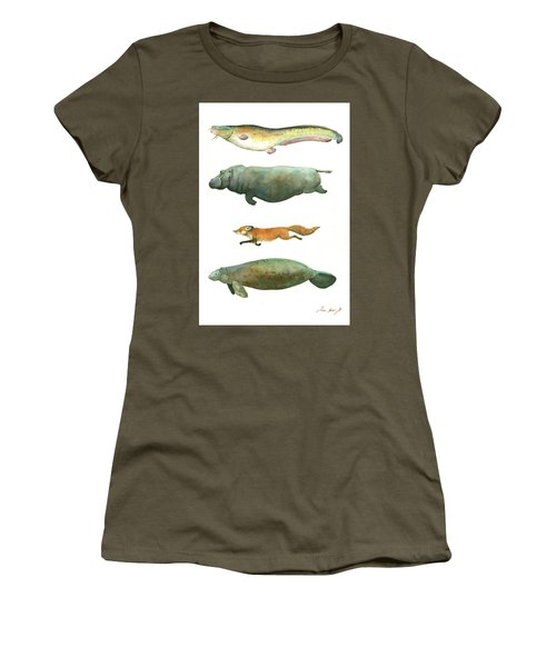 Swimming Animals Women's T-Shirt (Athletic Fit)