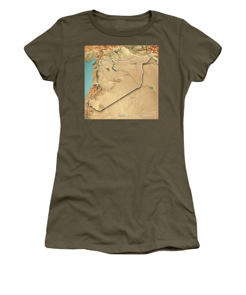 Syria Country 3d Render Topographic Map Border Women's T-Shirt