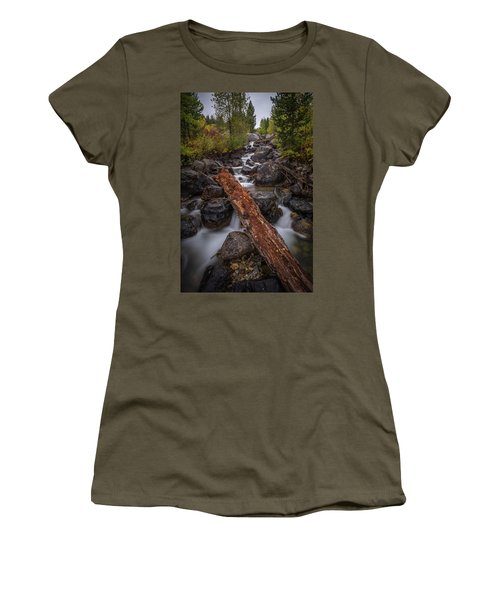 Taggert Creek Waterfall Log Women's T-Shirt (Athletic Fit)