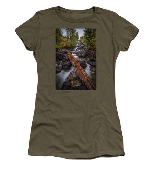 Taggert Creek Waterfall Log Women's T-Shirt (Athletic Fit)