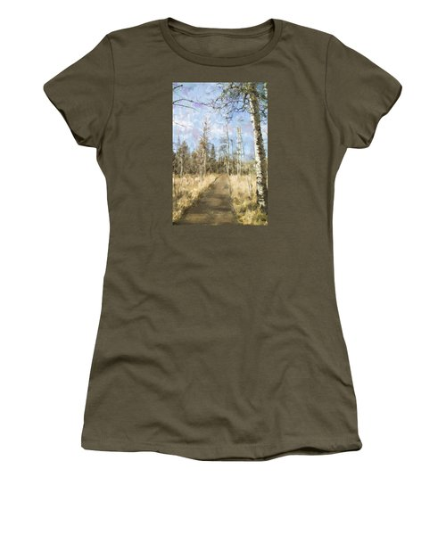 Women's T-Shirt (Junior Cut) featuring the painting Take A Walk by Annette Berglund