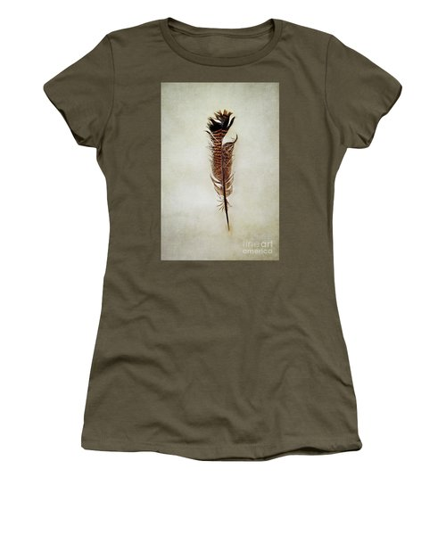 Women's T-Shirt (Junior Cut) featuring the photograph Tattered Turkey Feather by Stephanie Frey