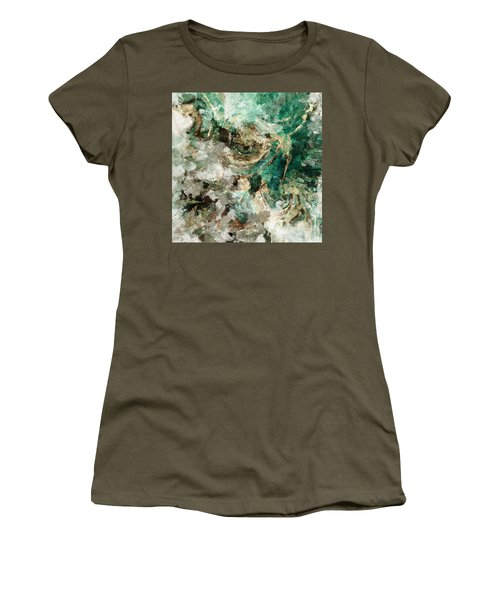 Teal And Cream Abstract Painting Women's T-Shirt (Junior Cut) by Ayse Deniz