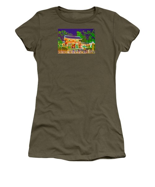 Women's T-Shirt (Junior Cut) featuring the painting Temple In Kyoto by Pravine Chester