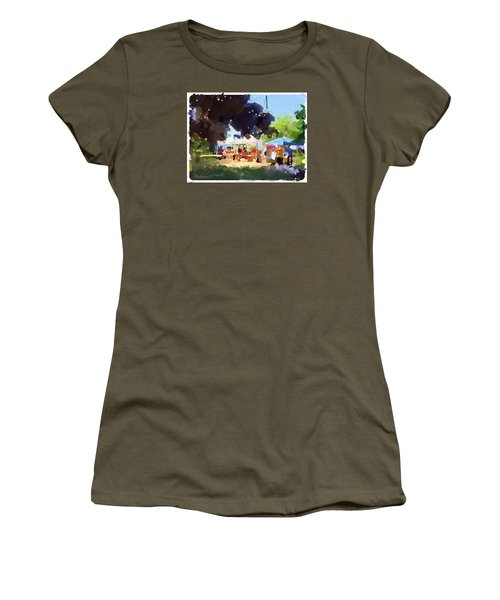 Tents And Church Steeple At Rockport Farmers Market Women's T-Shirt (Athletic Fit)
