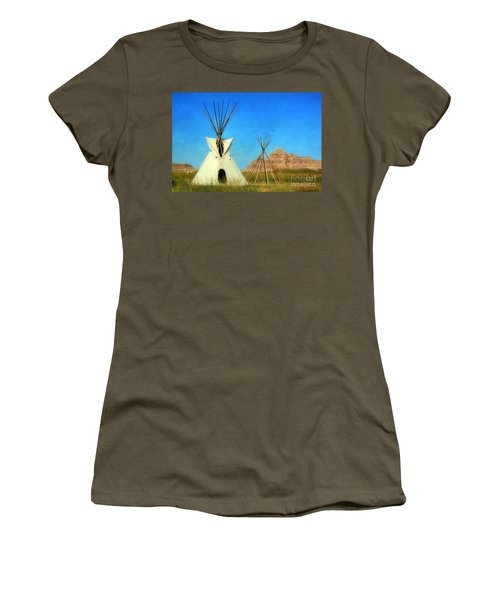 Tepee In Badlands Women's T-Shirt (Athletic Fit)