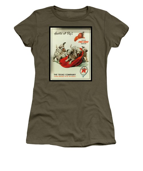 Women's T-Shirt (Athletic Fit) featuring the photograph Texaco Antique Sign by Chris Flees