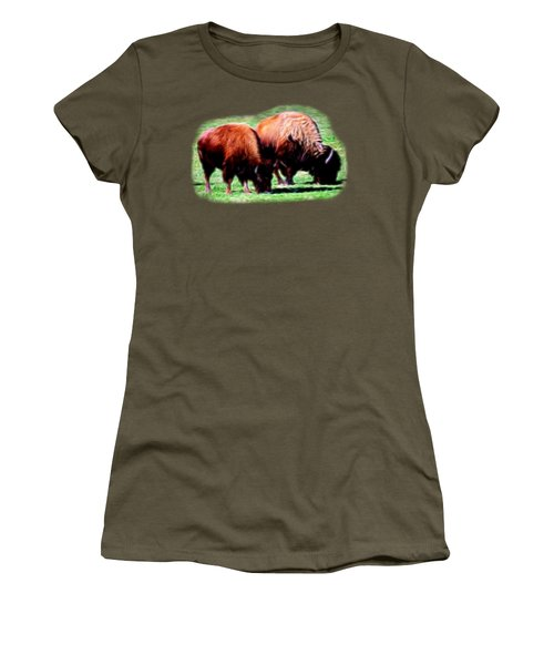 Women's T-Shirt (Junior Cut) featuring the photograph Texas Bison by Linda Phelps