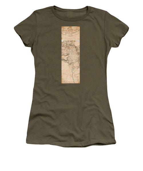 Texas Revolution Santa Anna 1835 Map For The Battle Of San Jacinto  Women's T-Shirt (Athletic Fit)