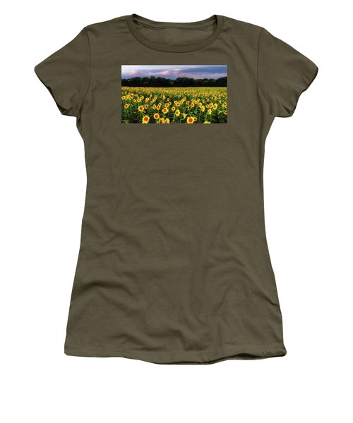 Women's T-Shirt (Athletic Fit) featuring the photograph Texas Sunflowers by Robert Bellomy